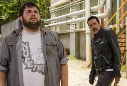 Jeffrey Dean Morgan as Negan, Joshua Hoover as Fat Joey- The Walking Dead _ Season 7, Episode 7 - Photo Credit: Gene Page/AMC